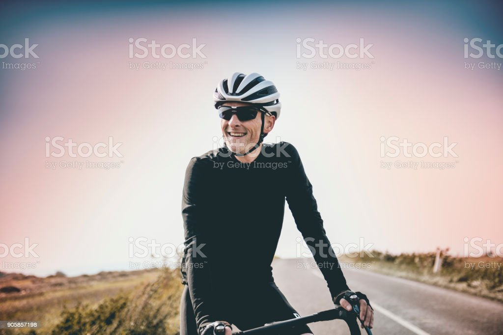 Cyclist Out On a Training Ride stock photo