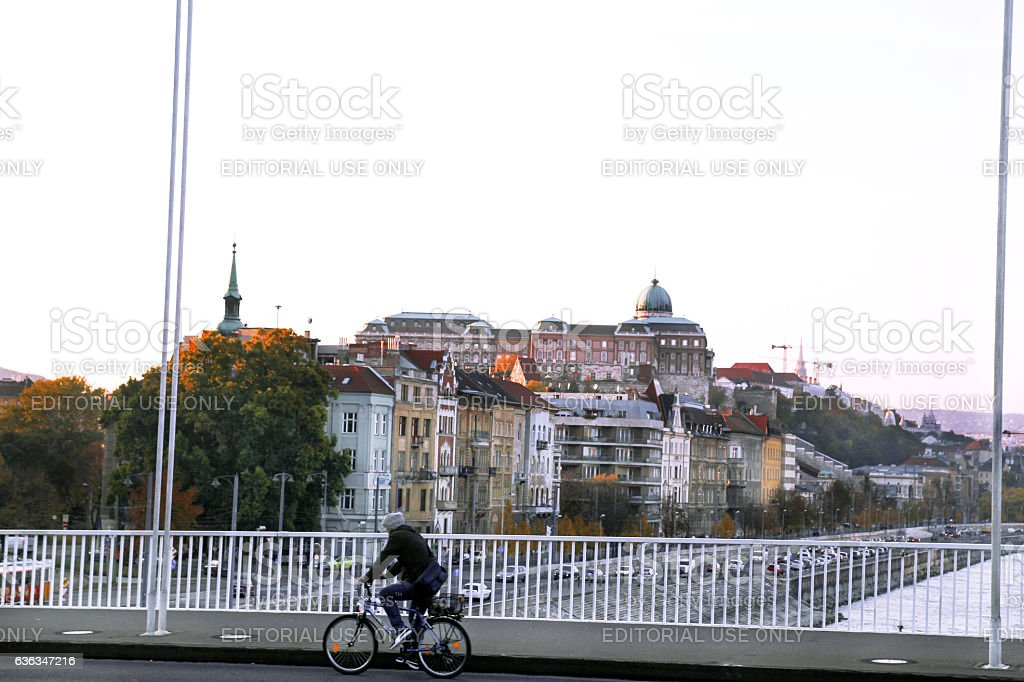 Cyclist rides a bicycle across the bridge in Budapest - foto de acervo