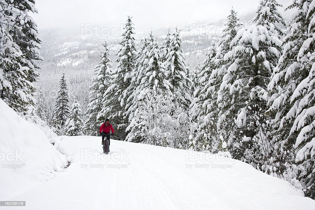 Cyclist riding snow covered trail on a snowbike stock photo