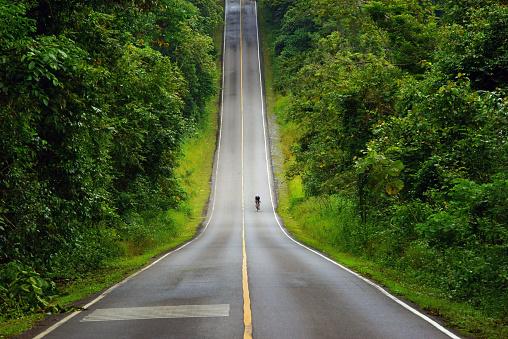 Cyclist riding the mountain road of Khao Yai National Park, Thailand.