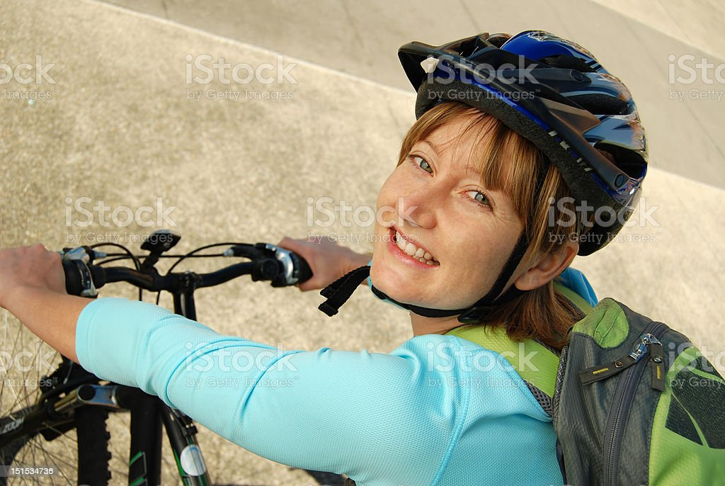 Cyclist with a backpack royalty-free stock photo