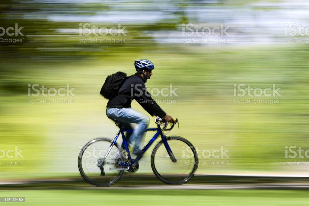 Cyclist With Blurred Background royalty-free stock photo