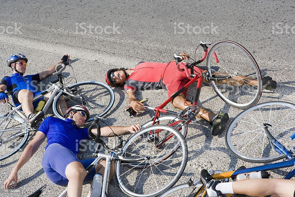 Cyclists after crash stock photo