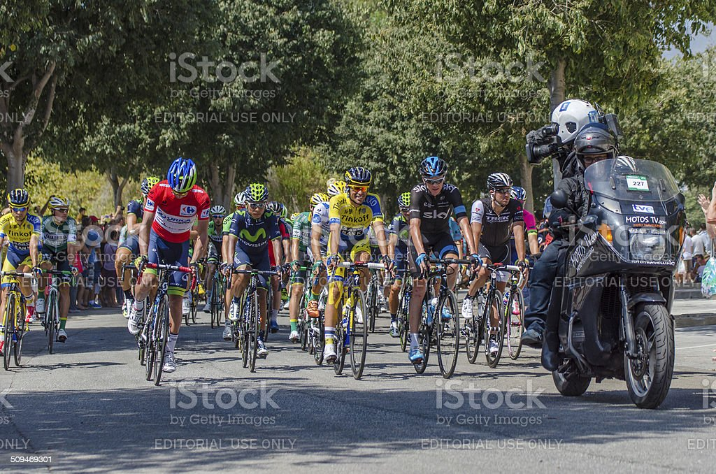 Cyclists Alberto Contador Nairo Quintana and Chris Froome stock photo