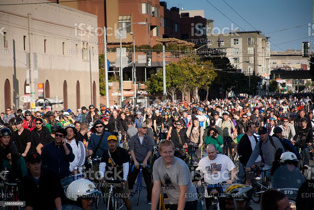 Cyclists at San Francisco Critical Mass royalty-free stock photo
