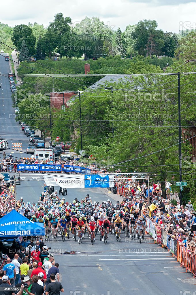 Cyclists Begin Stillwater Criterium stock photo