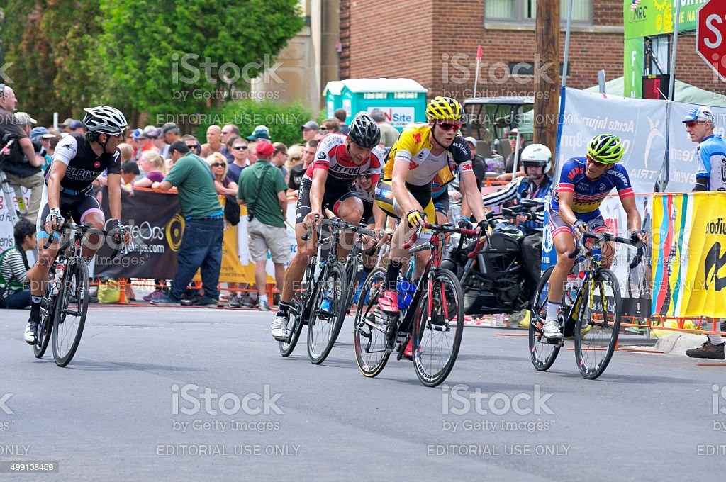 Cyclists Chase Leader at Stillwater Criterium stock photo