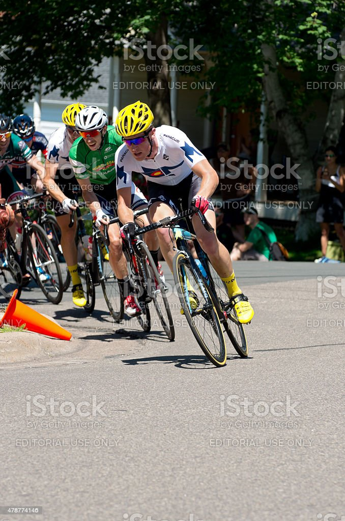 Cyclists Chase Leaders at Criterium stock photo