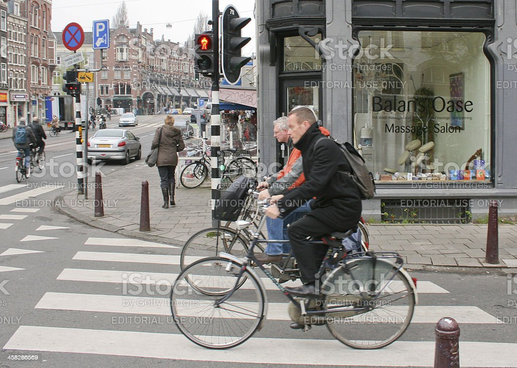 Cyclists in Amsterdam stock photo