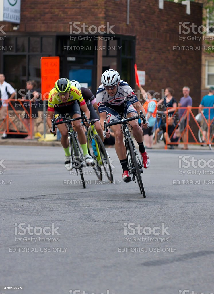 Cyclists on Course at Uptown Criterium stock photo