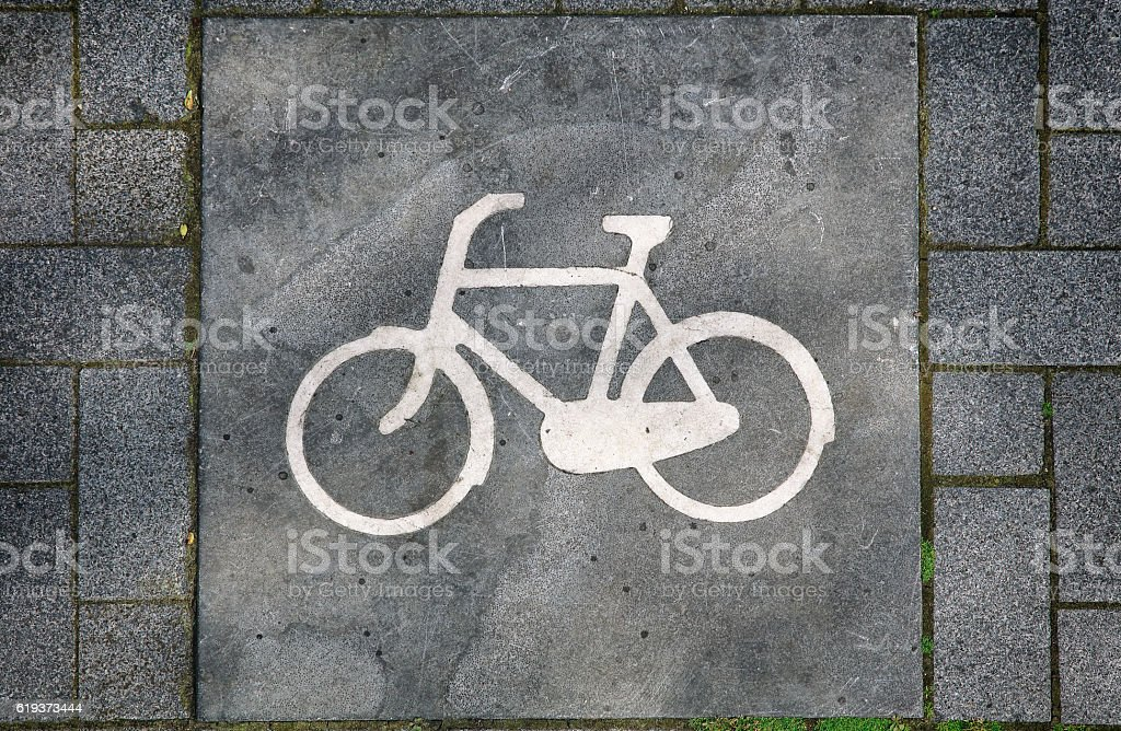 Cyclists pathway sign, Amsterdam, Netherlands stock photo