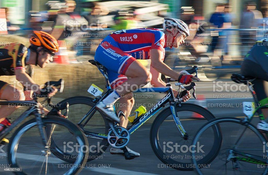 Cyclists racing stock photo
