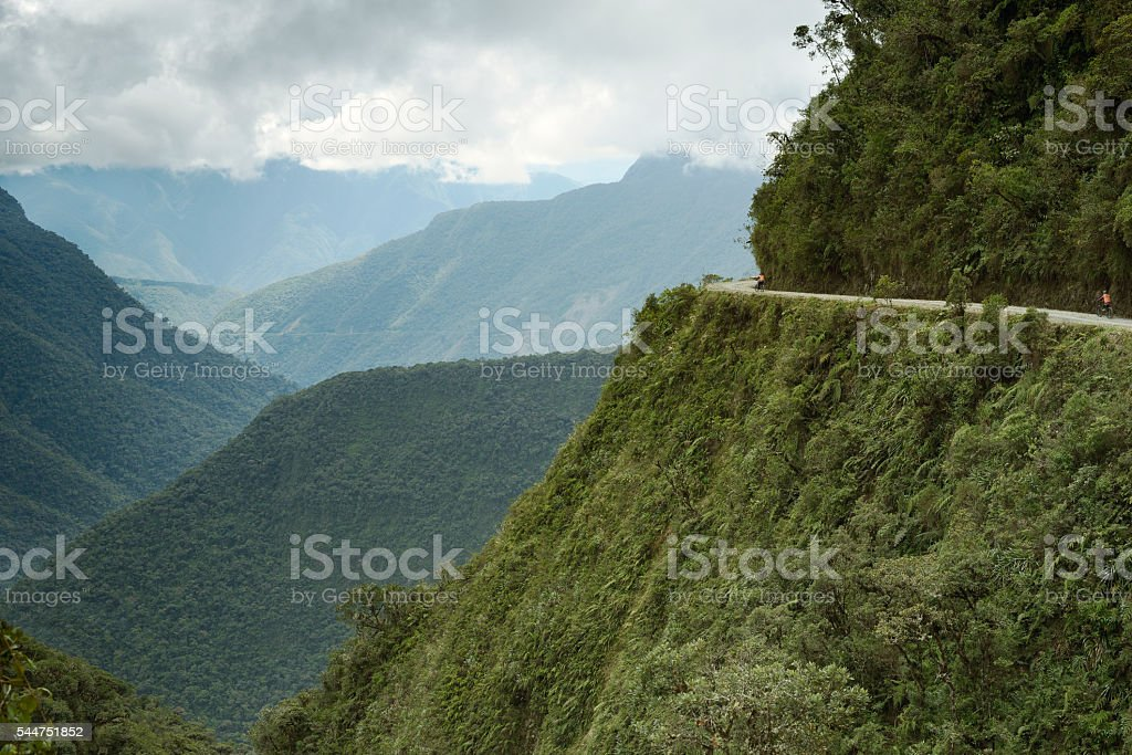 Cyclists riding on the Death Road stock photo
