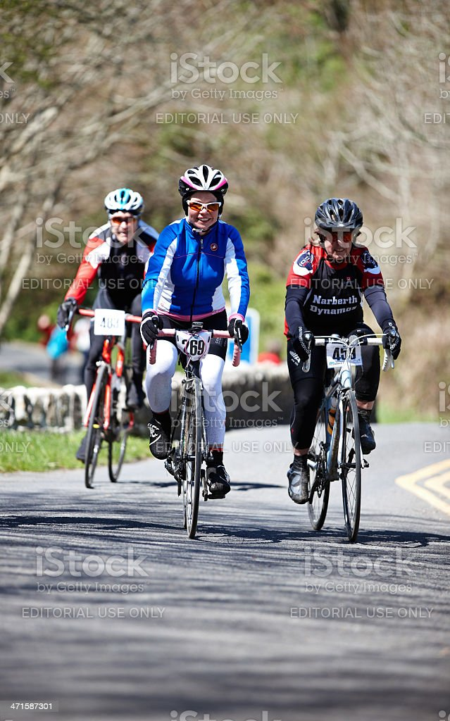 Cyclists taking part in a local charity bike ride stock photo