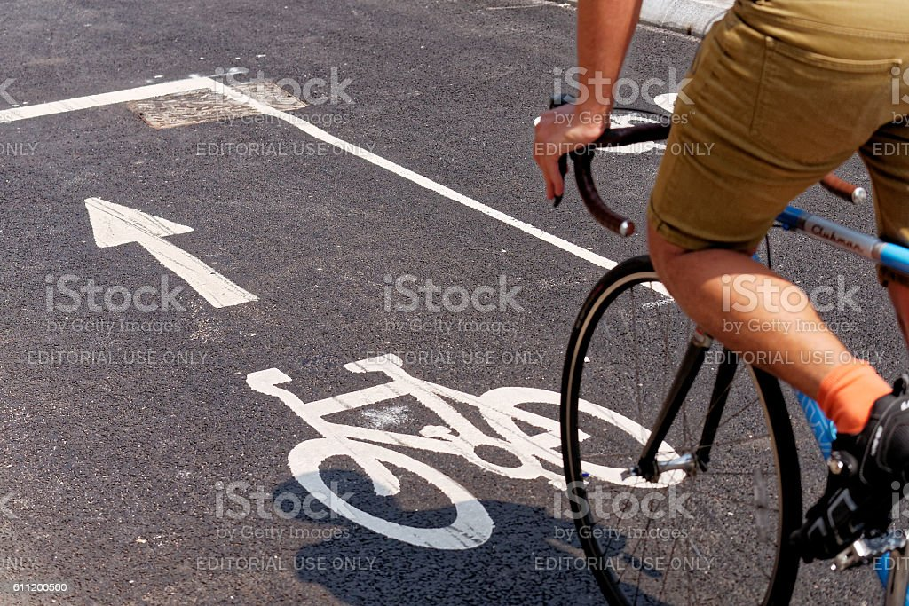 Cyclists using the New TFL Cycle Superhighway in London stock photo