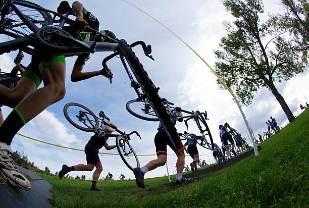 cyclo-cross bicycle race - cyclocross stock-fotos und bilder