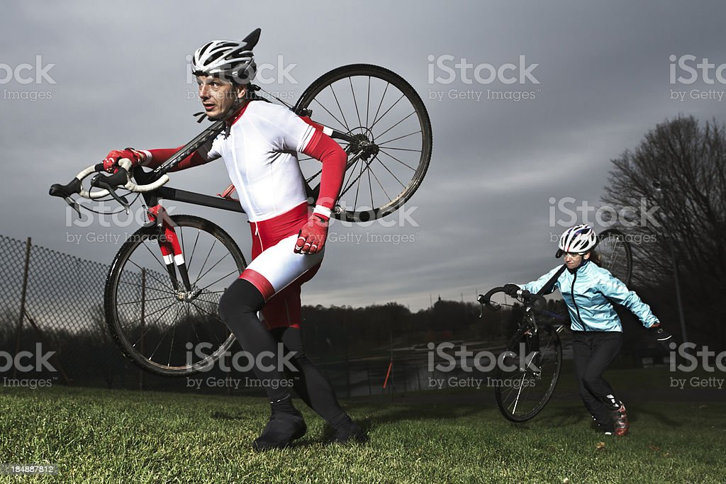 Cyclo-cross training stock photo