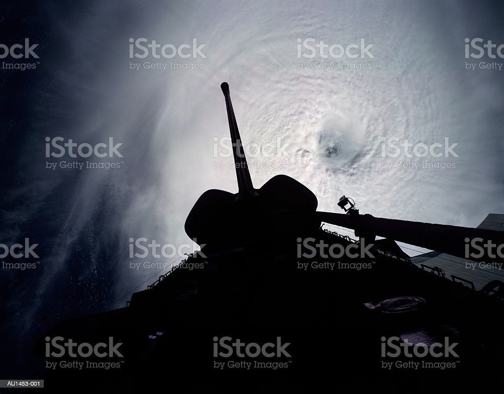 Cyclone eye above Indian Ocean, satellite view (Enhancement) royalty-free stock photo