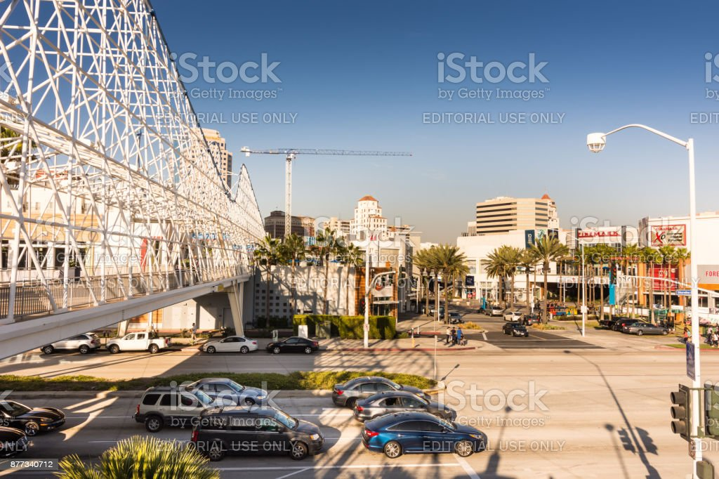 Cyclone Race roller coaster bridge in Long Beach, CA stock photo