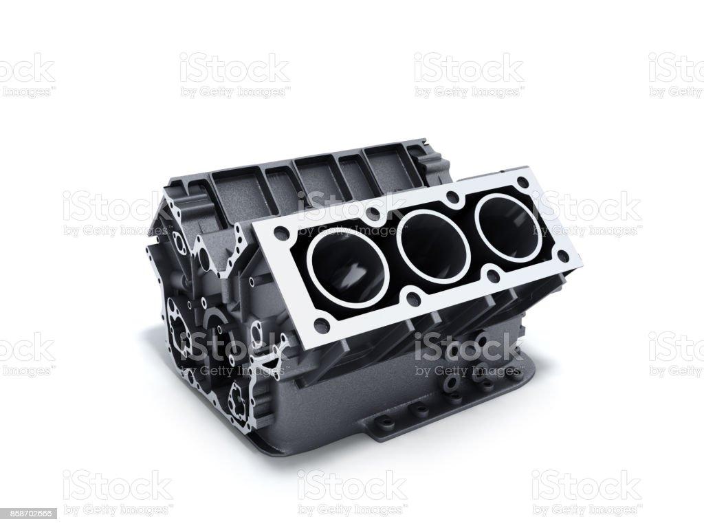Zylinderblock aus Auto mit V6-Motor 3d Render auf weißem Hintergrund – Foto