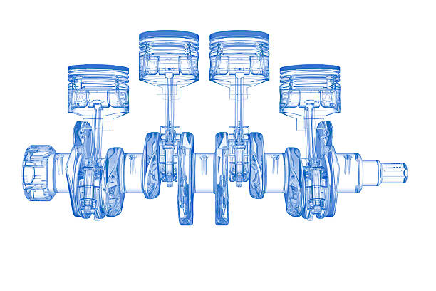 Cylinder crank (3D xray blue transparent on white)  piston stock pictures, royalty-free photos & images