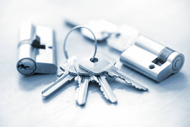 Cylinder lock / Door lock with keys stock photo