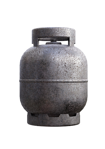 Cylinder tank of liquefied petroleum gas, LPG, used in the kitchen for food preparation. 3D rendering