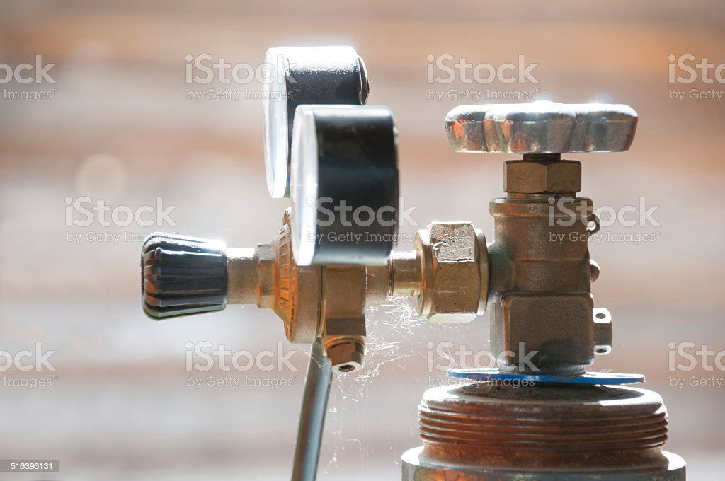 Cylinder valve with the Gas Regulator stock photo