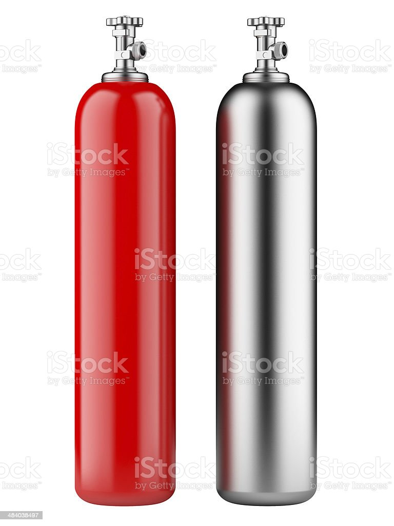 cylinders with compressed gas stock photo
