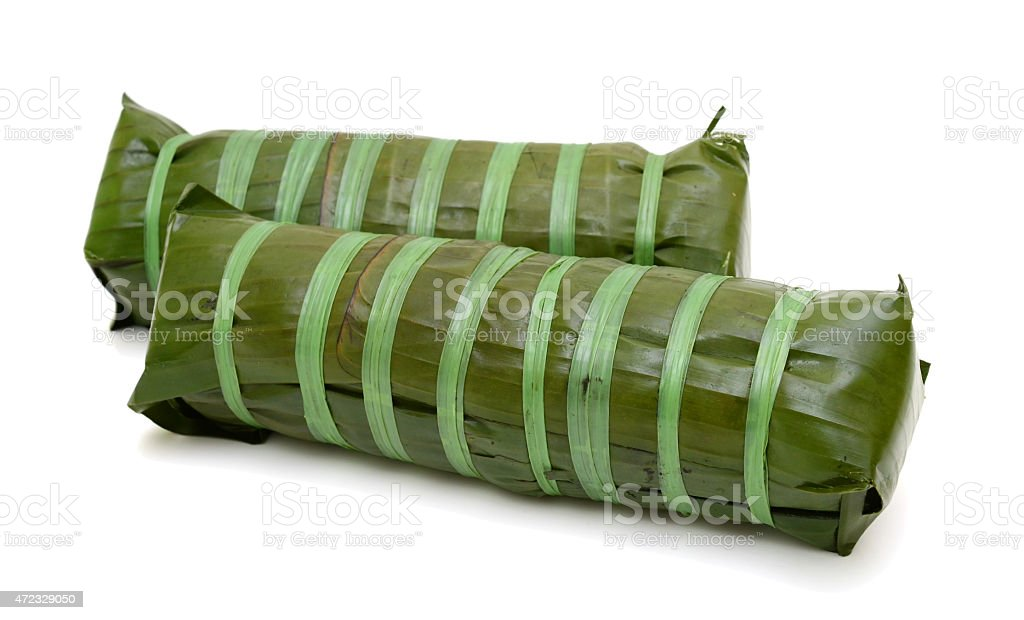 cylindric glutinous rice cake, Vietnamese new year food stock photo