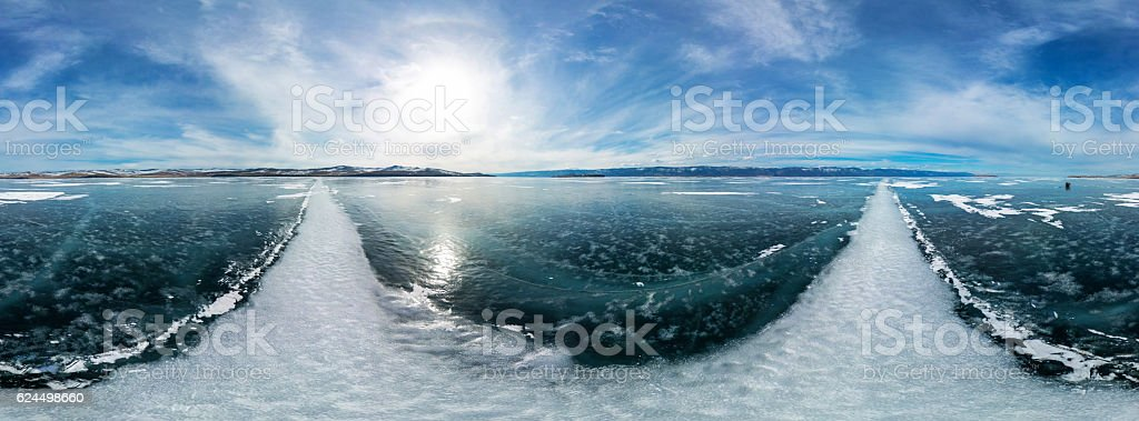 cylindrical panorama 360 a big white cracks on the ice stock photo