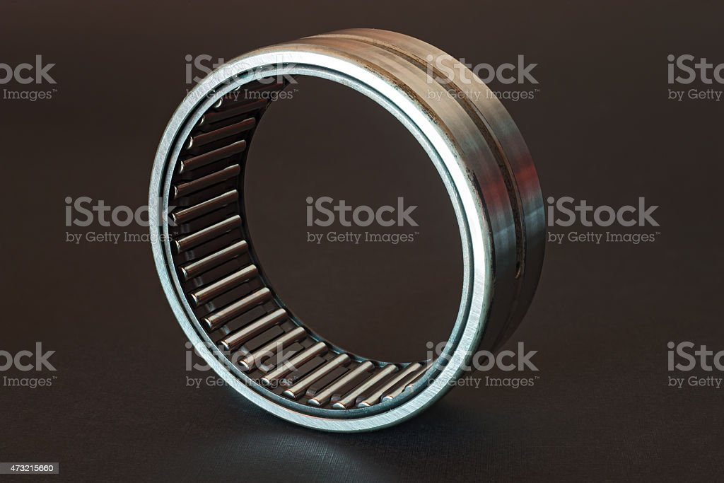 Cylindrical roller bearing on black background stock photo