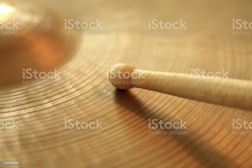 Cymbal and drumstick royalty-free stock photo