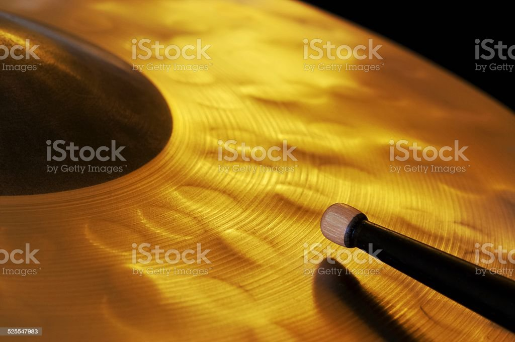 Cymbal and Tip of Drumstick stock photo