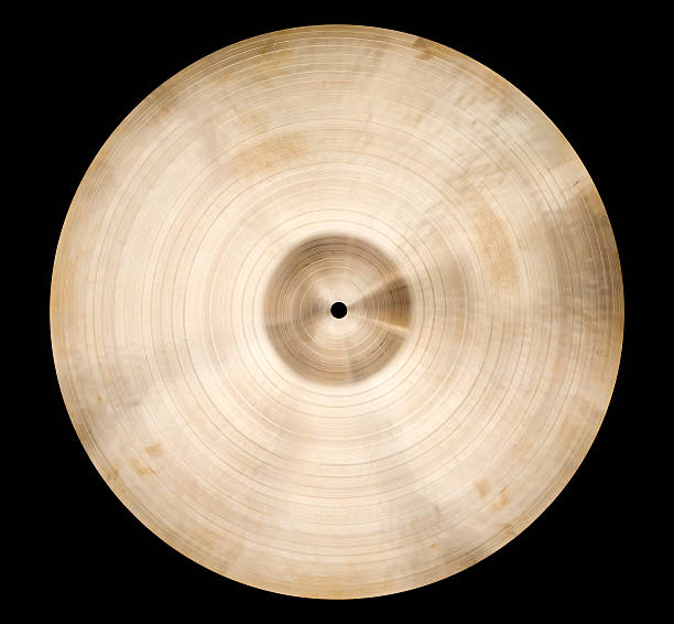 Cymbal Isolated single cymbal on black cymbal stock pictures, royalty-free photos & images