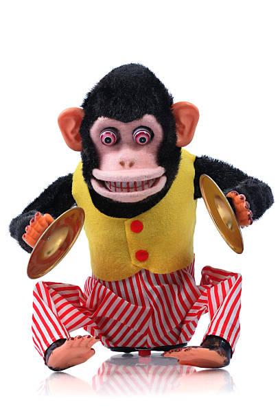 cymbal playing monkey - cimbaal stockfoto's en -beelden