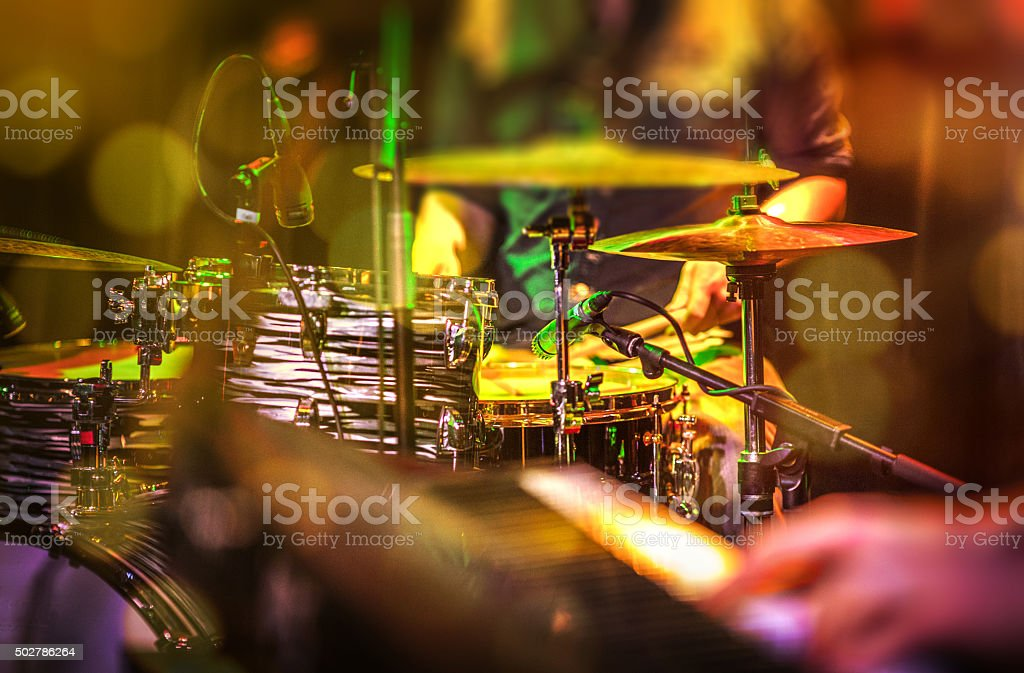 Cymbals, hi hat on stage stock photo