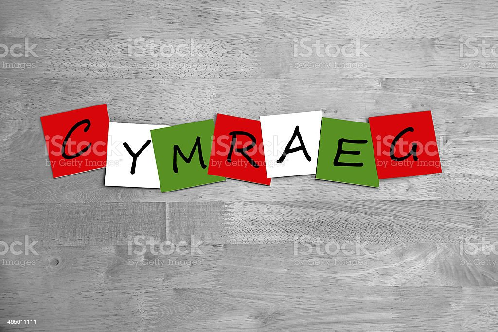 Cymraeg / Welsh - Wales language sign stock photo