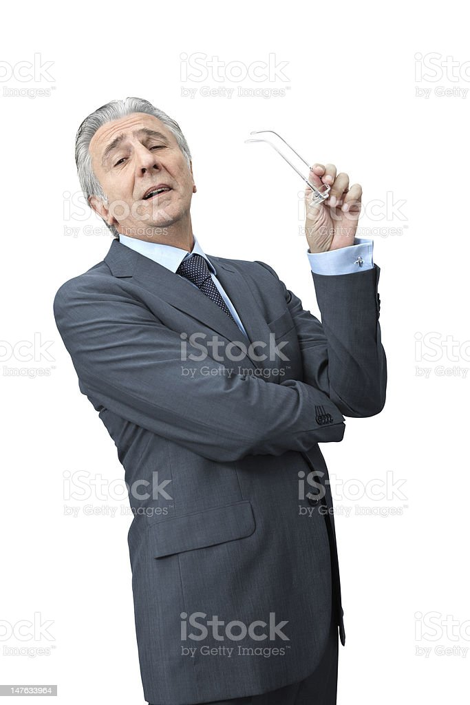 Cynical boss. Sneering boss crossing arms. 60-69 Years Stock Photo