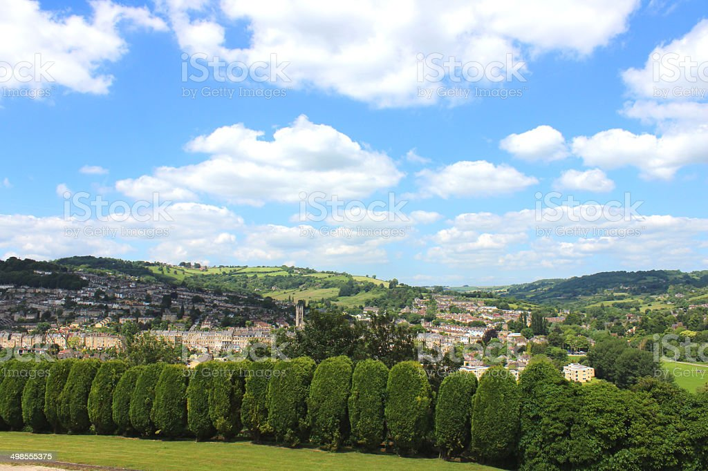 Cypress conifer hedge with clipped individual trees, Bath city views stock photo