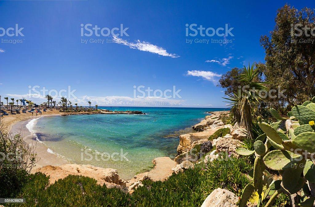 Cyprus beach panorama stock photo