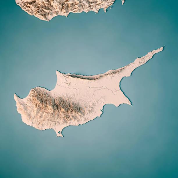 cyprus island 3d render topographic map neutral - cyprus стоковые фото и изображения