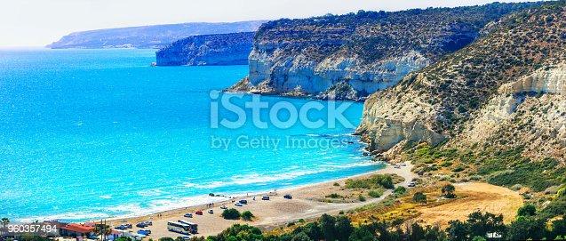 istock Cyprus island - beautiful impessive rocky beach Curium (Kourion) 960357494