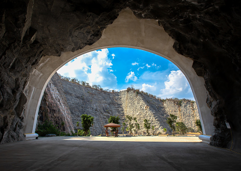Thai mountain tunnel overlooking the sky from inside