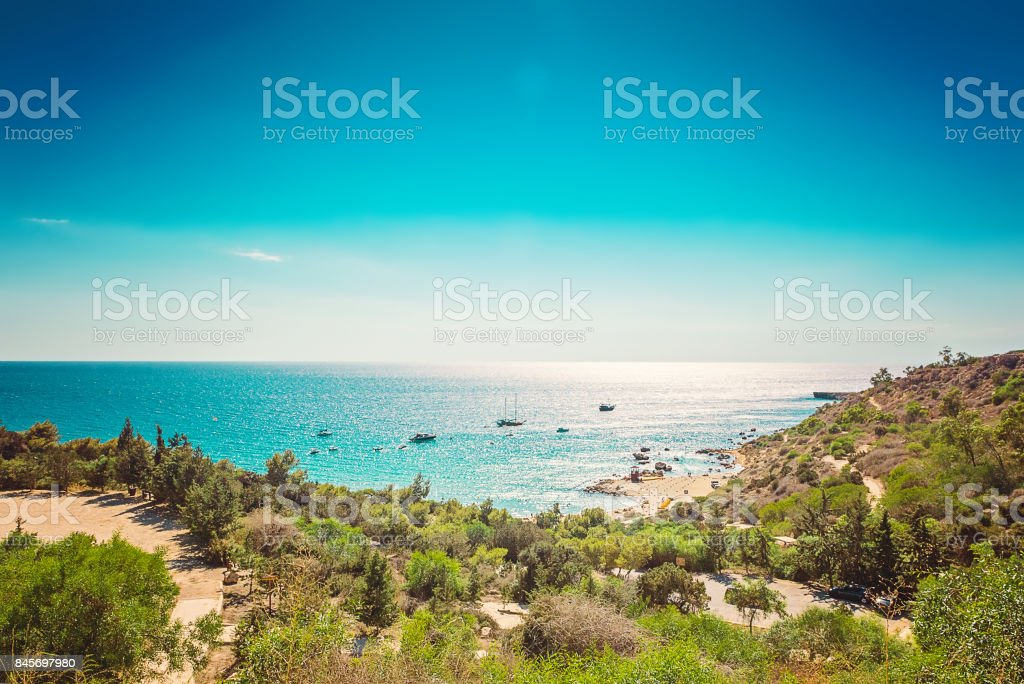 Cyprus Protaras, Konnos beach, view of lagoon Mediterranean Sea from above stock photo