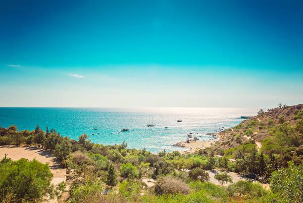 Cyprus Protaras, Konnos beach, view of lagoon Mediterranean Sea from above - foto stock