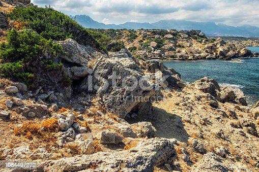 istock Cyprus rocky coatline desert cliff stones sea 1084497272