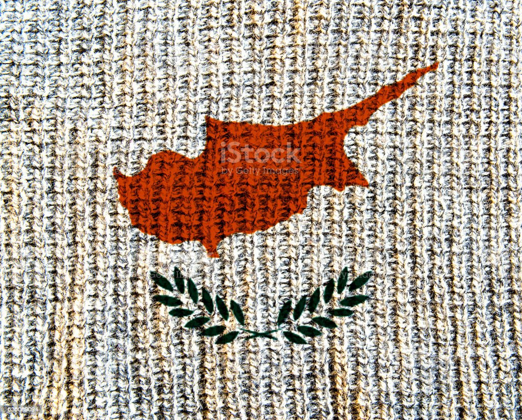 Cyprus Wool Textured Flag - stock photo