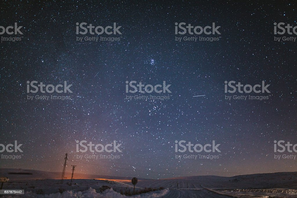 Cyristal clear sky with full of stars stock photo