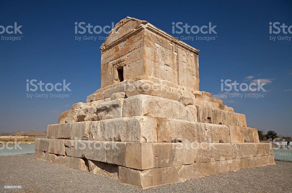 Cyrus Tomb in Pasargadae of Shiraz stock photo